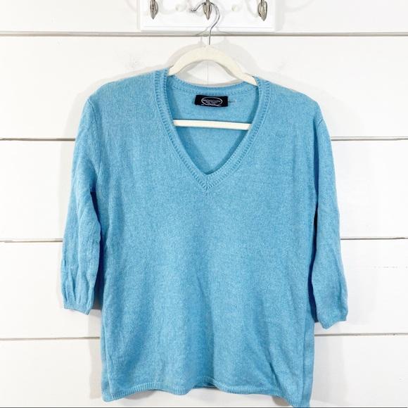 Magaschoni 100% Cashmere Light Blue V-Neck Sweater